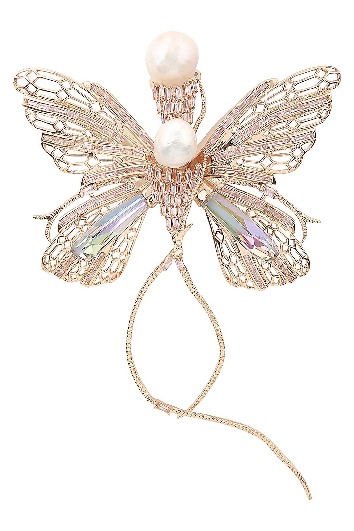 Rose Gold Plated Butterfly Brooch by Outhouse