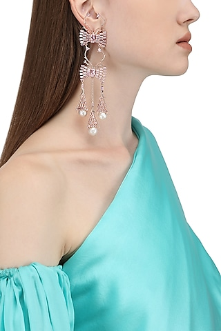 Rose Gold Plated Crystal and Pearl Earrings by Outhouse