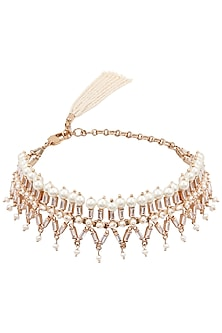 Rose Gold Plated Pearls and Swarovski Crystal Choker Necklace by Outhouse