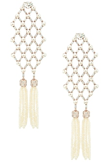 Rose Gold Plated Zircon and Pearl Tassel Earrings by Outhouse