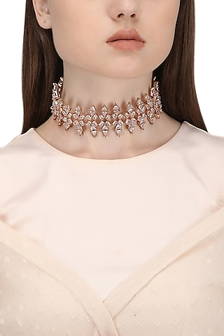 Rose Gold Plated Crystal Zircon Choker Necklace by Outhouse