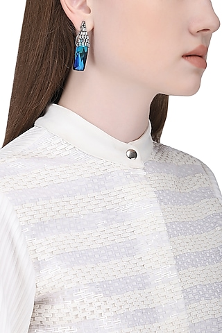 Gunmetal Plated Karner Studded Earrings by Outhouse