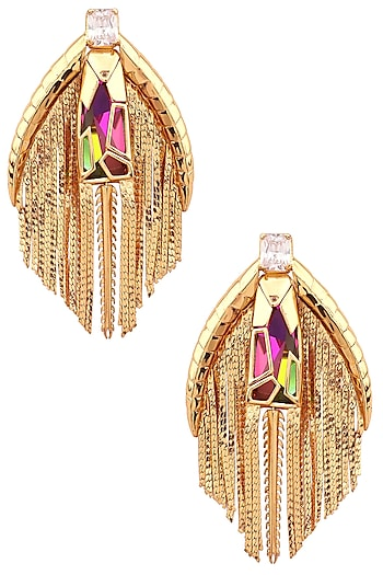 Gold Plated Earrings with Tassels by Outhouse
