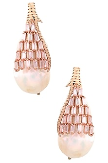 Rose Gold Plated Pearls Drop Earrings by Outhouse