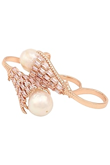 Rose Gold Plated Pearl and Crystal Baguette Ring by Outhouse