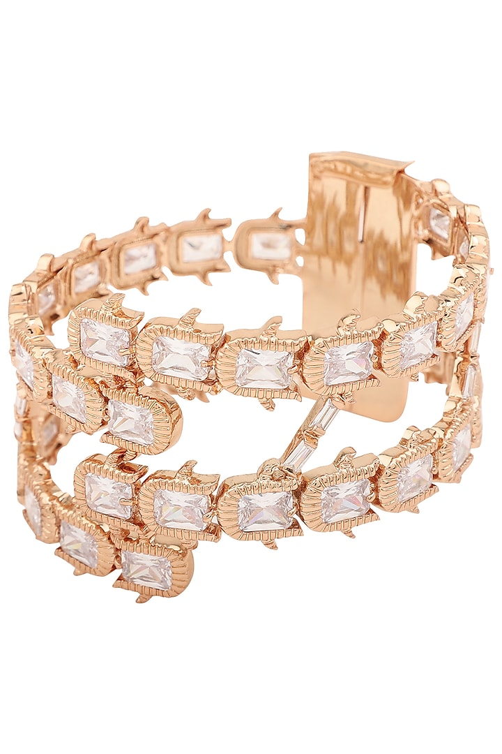 Rose Gold Plated Rose Cluster Handcuff by Outhouse
