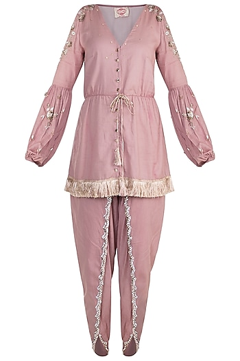 Onion Pink Embroidered Peplum Kurta With Tulip Pants by Ohaila Khan