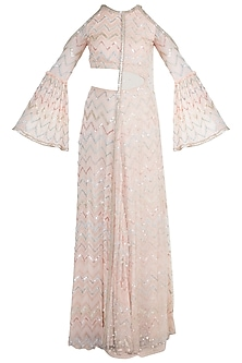 Peach Embellished Cut Out Anarkali Gown by Ohaila Khan