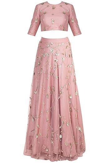 Rose Pink Jaal Embroidered Lehenga Set by Ohaila Khan