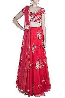 Red Butta Embroidered Lehenga Set by Ohaila Khan