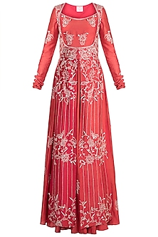 Red Embroidered Anarkali Kurta With Peshwa Jacket by Ohaila Khan