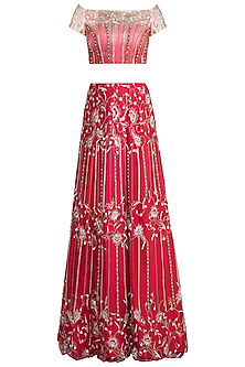 Dawn Red Embroidered ombre Lehenga Set by Ohaila Khan
