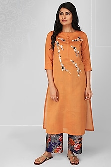 Orange Embroidered Kurta Set by OJA