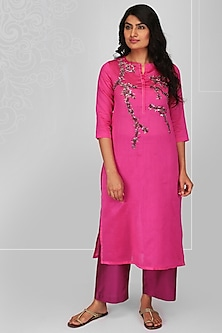 Fuchsia Embroidered Kurta Set by OJA
