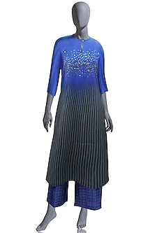Blue & Black Embroidered Kurta Set by OJA