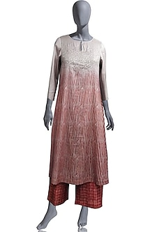 Red Embroidered Kurta Set by OJA