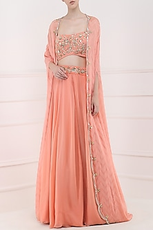 Coral Embroidered Lehenga, Crop Top and Cape Set by Ohaila Khan