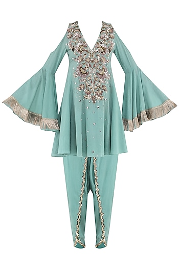 Aqua Blue Embroidered Baroque Kurta with Tulip Pants by Ohaila Khan