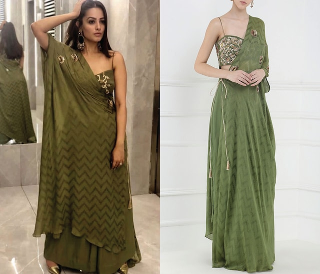 Olive Green Embroidered Crop Top, Kaftan and Pants Set by Ohaila Khan
