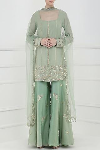 Sage Green Embroidered Sharara Pants Set by Ohaila Khan