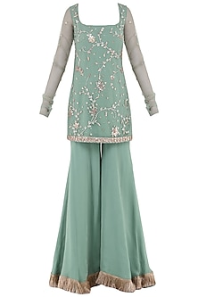 Aqua Green Embroidered Tassel Detailed Sharara Pants Set by Ohaila Khan