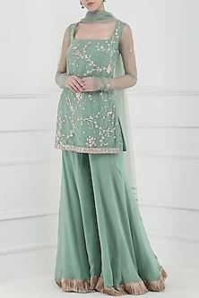 Aqua Green Embroidered Tassel Detailed Sharara Pants Set by Ohaila Khan