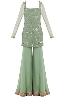 Sage Green Embroidered Tassel Detailed Sharara Pants Set by Ohaila Khan