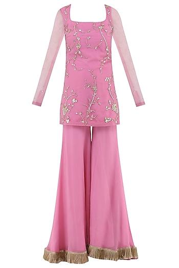 Rose Pink Embroidered Sharara Pants Set by Ohaila Khan