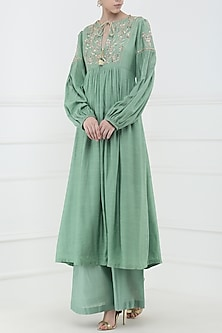 Aqua Green Embroidered Kurta with Palazzo Pants by Ohaila Khan