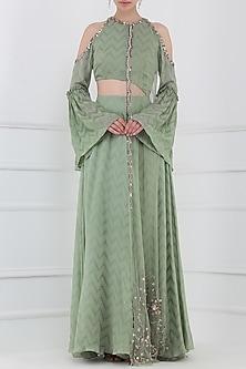 Khakhi Green Embroidered Cutout Anarkali Gown by Ohaila Khan