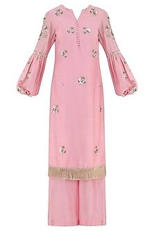 Peony Pink Embroidered Kurta with Palazzo Pants by Ohaila Khan