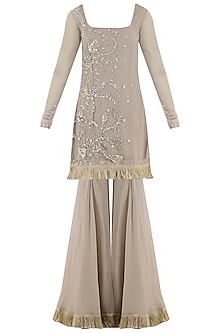 Taupe Embroidered Sharara Pants Set by Ohaila Khan
