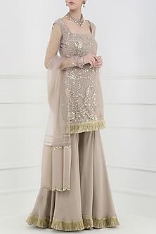 Taupe Embroidered Sharara Pants Set by Ohaila Khan