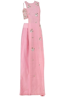 Peony Pink Embroidered Crop Top, Cape and Pants Set by Ohaila Khan