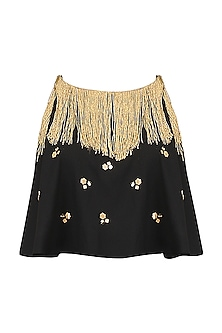 Black Embroidered Fringe Cape Top by Ohaila Khan
