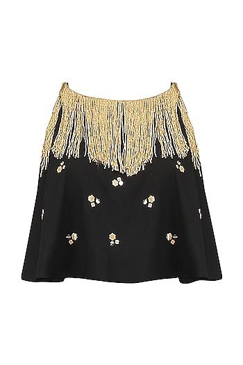 Black Embroidered Fringe Cape Top by Ohaila Khan