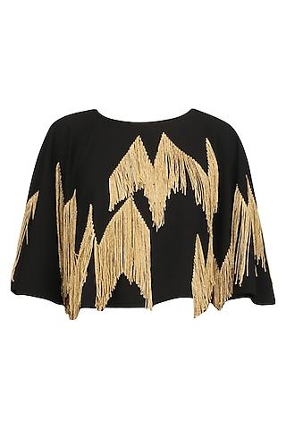 Black Chevron Embroidered Crop Cape by Ohaila Khan