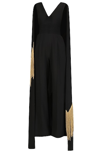 Black Embroidered Cape Jumpsuit by Ohaila Khan