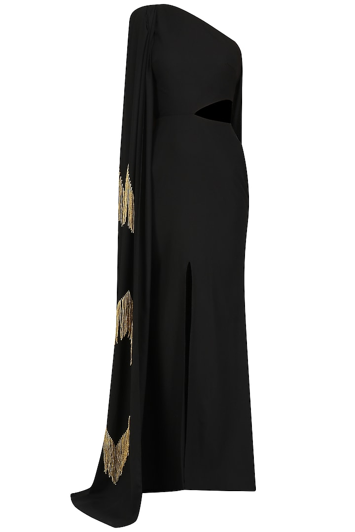 Black One Shoulder Embroidered Cape Gown by Ohaila Khan