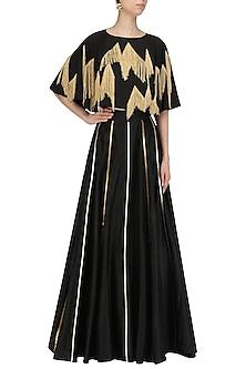 Black Gota Embroidered Circular Skirt by Ohaila Khan