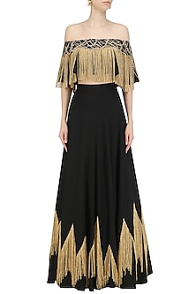 Black Embroidered Circular Skirt by Ohaila Khan