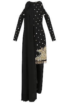 Black Embroidered Cold Shoulder Cape Kurta Set by Ohaila Khan