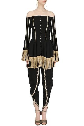 Black Embroidered Off Shoulder Kurta with Tulip Pants Set by Ohaila Khan