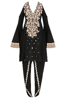Black Embroidered Cold Shoulder Kurta with Tulip Pants Set by Ohaila Khan