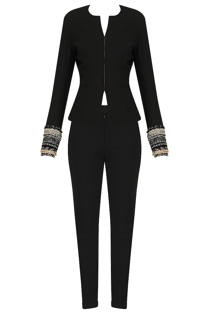 Black Embroidered French Pant Suit by Ohaila Khan
