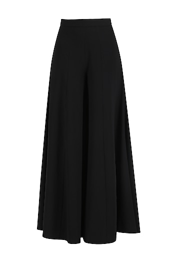 Black Wide Leg Palazzo Pants by Ohaila Khan