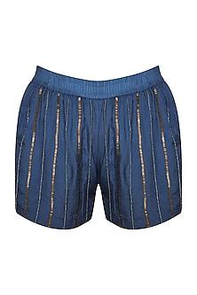 Agean Blue Hand Beaded Shorts by Ollari