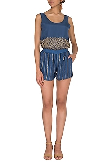 Agean Blue Hand Beaded Shorts by Ollari