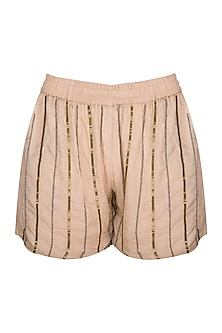 Chestnut Hand Beaded Shorts by Ollari