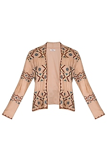 Chestnut Embroidered Blazer Jacket by Ollari